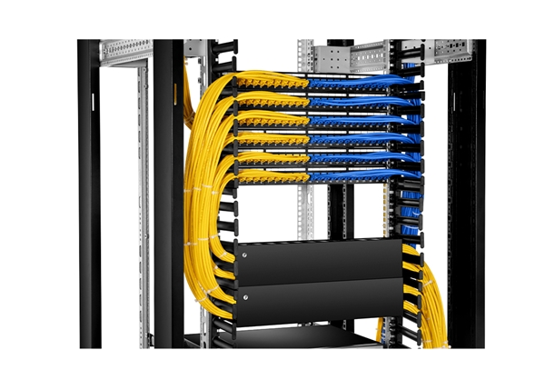 Cat6 and Cat5e cables are terminated on the same blank patch panel
